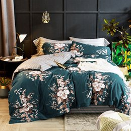 Beautiful Modern Bedding Australia - European Egyptian cotton bed linen sheet Blue beautiful floral flower bedding set pastoral duvet cover pillowcases bedspreads
