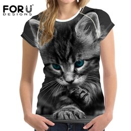 $enCountryForm.capitalKeyWord Australia - FORUDESIGNS 3D Cat T Shirt for Women Top Cute Sports T-shirt Femme Bodybuilding Ladies Short Tee Tops Woman Elastic Clothes