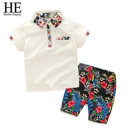 $enCountryForm.capitalKeyWord Australia - He Hello Enjoy Summer Set Boy Clothes Kids Short Sleeves Print Shirt+flower Shorts 2pcs Suit Children Clothing Q190523