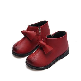 girls red leather shoes UK - Autumn Baby girls leather shoes Kids princess shoes Little Baby Girls ankle boot bowknot Girl boots for children