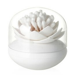 swab holder UK - Hot Chic Lotus Flower Cotton Bud Holder Toothpick Case Cotton Swab Box Home Decor (White)