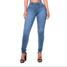 China 2019 Women Casual Elastic Waist Stretch Skinny Jeans Ladies Pockets Solid Denim Trousers Slim Feet Pants Leggings cheap ladies leggings feet suppliers