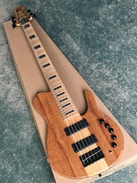 Guitar One Piece Neck Australia - 2019 New Imperial Fodera Bass Nature Wood 9V Active Pickup One Piece Maple Neck through the Body Butterfly 6 String Electric Bass Guitar