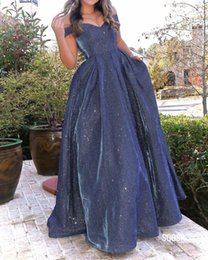 vintage apple fabric UK - Fashion Sequined Fabric Off the shoulder Evening Prom Dresses A line with Cap Short Sleeves Dark Blue Quinceanera Pageant Formal Dress