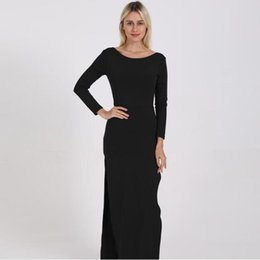 Discount plus size party dresses europe - 2019 new Women cocktail party dress Europe and America sexy backless split long sleeves and floor dress