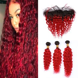 $enCountryForm.capitalKeyWord NZ - Ombre Red Human Hair Bundles with Frontal Lace Closure Deep Wave Curly Black and Red Human Hair Weave and Frontals