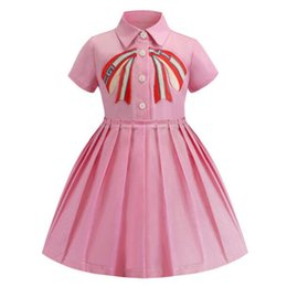 embroidered tutu Canada - New Arrival Summer Pink Embroidered Girls Short Sleeve Dress Hot Sale Lapel High Quality Cotton Baby Kids Fashion Dresses