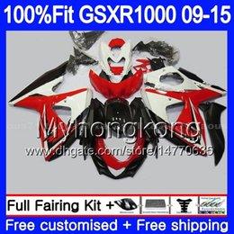 Gsxr fairinG red white online shopping - Injection For SUZUKI GSXR HM GSX R1000 hot Red white K9 GSXR1000 Fairing