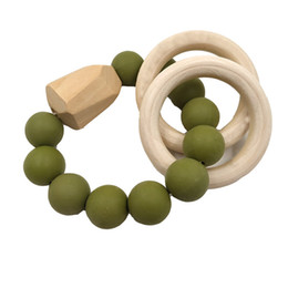 teether rings Australia - Baby Teething Bracelet Natural Wood Teether Ring BPA-Free Silicone Teething Beads Toy Newborn Shower Gift