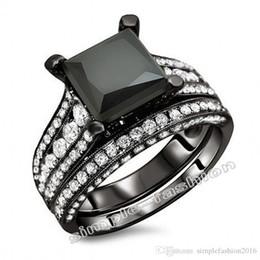 $enCountryForm.capitalKeyWord Australia - Fashion Jewelry Engagement Princess cut 8mm Cz 5A Zircon stone 10KT Black Gold Filled 2-in-1 Wedding Ring Bridal Set Sz 5-11