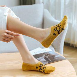 $enCountryForm.capitalKeyWord Australia - Women Girl Low Cut Invisible Short Boat Socks Vintage Leopard Spot Jacquard Printed Ribbed Trim Non-Slip Silicone Cotton Hosiery