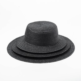 ee79b545125 Black Straw Boater Hat Women Summer Beach Sun Hats 2019 Vacation Hat Wide  Brim UV Protection Top Quality 691011