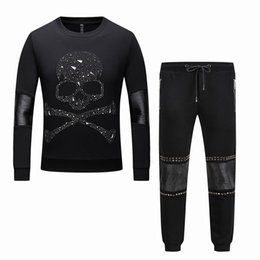 Chinese  Sport Suit Skulls PP Men\'s Cotton Tracksuit Brand Male Fitness Casual Slim Pullover Long Sleeve Sweatshirts + Pants Joggers Set #1757 manufacturers