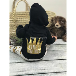 Boys toddler spring jackets online shopping - INS jot sale Toddler Baby Kids boys Outfits Black Coat with hood Pants Clothes Set New baby outfit shipping