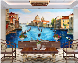 Wholesale house boats resale online - 3d room wallpaper custom photo mural Sea Europe Venice Architecture River Boat Scenery home decor d wall murals wallpaper for walls d
