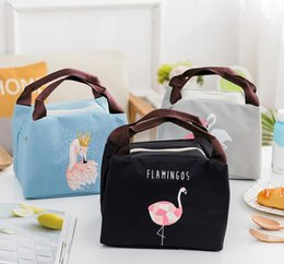 student lunch boxes UK - picnic outdoor bag Lunch Bags Flamingo Printed Canvas Fabric with Insulated Waterproof Aluminum Foil, Lunch Box for Women, Kids, Students