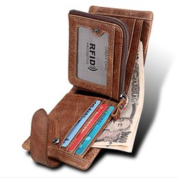 block wallet UK - Crazy Horse Leather Men's Wallet Credit Card Holder RFID Blocking Clutch Purse