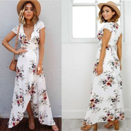 $enCountryForm.capitalKeyWord Australia - 2019 Women Dresses V-neck Short-sleeve Split Flower Dresses Lady Summer Vacation Beach Skirt Girl Casual Bohemian Chiffon Long Dresses