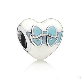 sterling silver bow bracelet UK - New Authentic 925 Sterling Silver Bead Charm Mix Enamel Beautiful Bow Wraps Up Heart White Day Love Beads Fit Bracelet Diy Jewelry