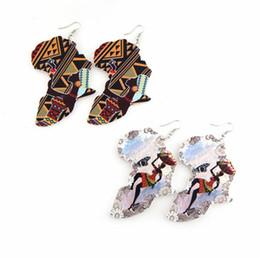 $enCountryForm.capitalKeyWord Australia - Women Africa Map Fashion Print Wood Earrings Wooden Geometric Charm Pendant Dangle Hoop Earrings