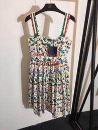 Graffiti Knee Length Dress NZ - Brand woman summer dresses women jumpsuits rompers dress Small fresh painted graffiti pleated cotton suspender dress skirt women clothes