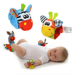 Musical babies online shopping - New Arrival Infants Socks Rattles Plush Musical Socks Cartoon Cute Animal Wrist Rattle Baby Rattles Months Baby