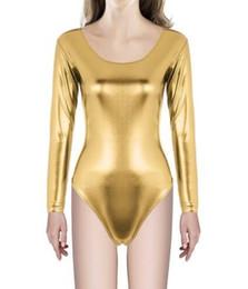 $enCountryForm.capitalKeyWord Australia - Kids Long Sleeve Metallic Dance Leotards Girls Shiny Gymnastics Dancewear Toddler Lycra Dance Tops One Piece Bodysuits
