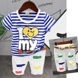$enCountryForm.capitalKeyWord Australia - New Arrived Toddler Baby Boys Blue Striped T-shirt + White Shorts Casual Hole Pants 2pcs Set Clothing Set Kids Boys Clothes Summer 2019
