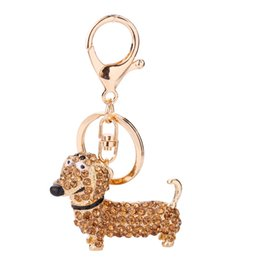 $enCountryForm.capitalKeyWord UK - Crystal Dog Keychain Stainless Steel Diamond Doggy Keychains Bling Bling Car Bag Buckles Pendants for Woman Man Gifts