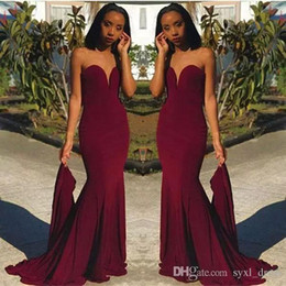 Wholesale suruimei resale online - Burgundy Evening Gowns Party Wear mermaid prom dresses long special occasion dresses vestido de novia suruimei