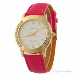 Rhinestone watch box online shopping - Fashion Leather GENEVA Brand Watch Hot Selling Women Dress Watch Ladies Bracelet Rhinestone Watches WITB BOX