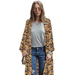 c50f8d884a 2019 Fashion Women Plus Size Chiffon Kimono Vintage Tiger Striped Print  Irregular Hem Casual Loose Coat Cardigan Streetwear New