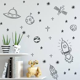 Nursery Wall Stickers For Boys Australia - Decals For Boy Room Outer Space Nursery Wall Sticker Rocket Ship Astronaut Vinyl Decal Planet Decor Kids Zb163 Q190605