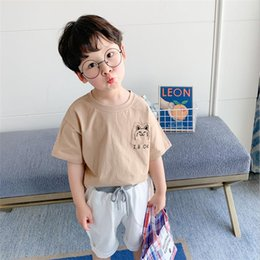 korean kid cute t shirt UK - Boys 2020 new summer cute top middle school kids casual all-around T-shirt Korean fashion loose short sleeve trend
