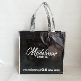 $enCountryForm.capitalKeyWord Australia - Metallic Black Tote Shopping Bags with Your Logo Printed Reusable Grocery Bags for Holding a Sale Banquet Promotional Cloth