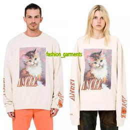 Short Sleeved Sweater men online shopping - Heron Preston Fashion Cat Print Sweater Men s Luxury Designer Long sleeved High quality Round Neck Sweater Cute Beige Long Sleeve