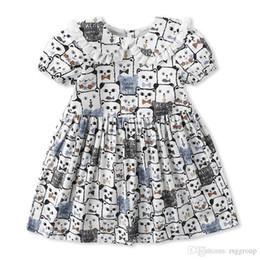 $enCountryForm.capitalKeyWord Canada - Designer Vintage Little Girl Kids Clothing Dreeses Summer Girl Stylish Short-sleeved Cartoon Animals Design cotton girl princess dress 1-7T