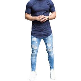 Oeak Skinny Blue Jeans Men Autumn Vintage Denim Pencil Pants Casual Stretch  Trousers 2019 Sexy Hole Ripped Male Zipper Jeans 3XL 509975690df0
