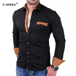 $enCountryForm.capitalKeyWord Australia - F-SFRWA 2019 Fashion Male Shirt Long -Sleeves Tops Solid Color Large Pocket Shirt Mens Black Dress Shirts Slim Men XXXL