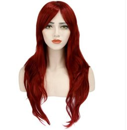 Women's wine Red Fashion Natural Wavy Full Curl Wigs Cosplay Party on Sale