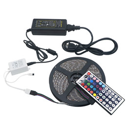 remote control rgb led strips UK - Full RGB LED Strip Kits SMD 5050 60LEDs 5M 300LEDs Waterproof RGB LED Strips with 44 key Remote Control + 12V 5A Power Supply