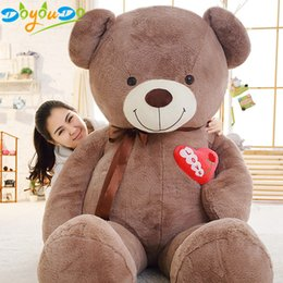 $enCountryForm.capitalKeyWord Australia - 1PC Large Teddy Bear Plush Toy Lovely Huge Stuffed Soft Bear Wear Bowknot Bear Kids Toys Birthday Gifts For Girlfriend
