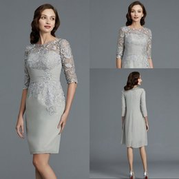 $enCountryForm.capitalKeyWord Australia - Modest Elegant Sheath Scoop Knee Length Chiffon Silver Short Mother Of The Bridal Pant Suits Long Sleeve Jacket Lace Top Mother Gowns