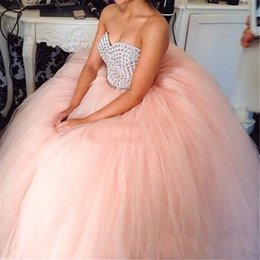 $enCountryForm.capitalKeyWord Australia - Blush Pink Tulle Sweetheart Beads Sweep Train Custom Made Cheap Ball Gown Quinceanera Dresses Sweet 16 Prom Dress Gowns for Quinceanera