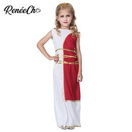 goddess dresses white Australia - Halloween Costume For Kids Roman Costume For Girls Child Greek Goddess Sleeveless White Long Dress birthday cosplay costumeMX190923