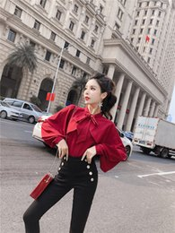 $enCountryForm.capitalKeyWord Canada - Cloak Design Style 2 Piece Set Women Chiffon Lantern Sleeve Bow Shirts Full Length High Waist Pants Casual Women Sets Clothes