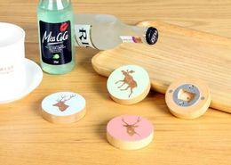Bottle Openers Fridge Magnet Australia - DIY Wooden Round Shape Bottle Opener Coaster Fridge Magnet Decoration Beer Bottle Opener Custom Logo