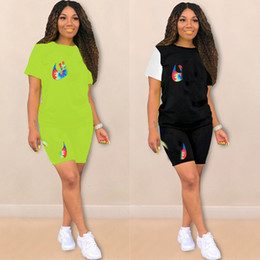 $enCountryForm.capitalKeyWord NZ - Designer Women Summer Tracksuit brand Shorts Suits Women N&K Letter Short Sleeves Tops +shorts 2 Pieces Sets Outfit Casual Clothing C72703