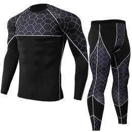 $enCountryForm.capitalKeyWord Australia - 2019 new men's PRO body-hing hot style fitness training suit stretch quick dry suit with long sleeves and trousers of high quality