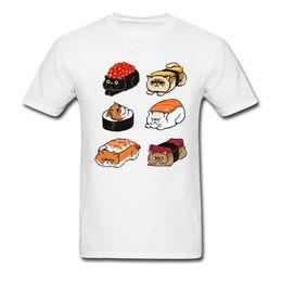 $enCountryForm.capitalKeyWord Australia - Japan Sushi Cat Lazy Tshirt Men's Funny New T Shirts Plus Size 2xl Blue Navy Kittens Food T Shirt Men O - Neck Slim Tee Shirt